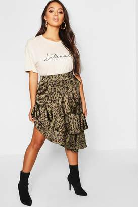 boohoo Petite Satin Leopard Print Ruffle Midi Skirt