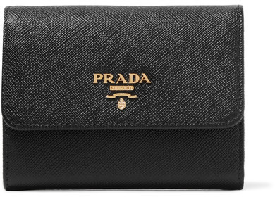 prada Prada - Textured-leather Wallet - Black