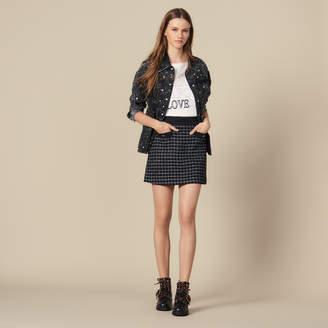 Sandro Short A-Line Tweed Skirt