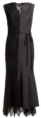 Junya Watanabe Lace Slip Overlay Wool Blend Dress - Womens - Black Grey