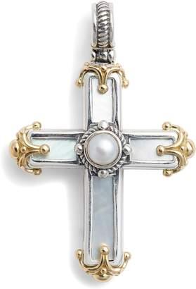 Konstantino Hestia Sterling Silver Pearl Cross Pendant