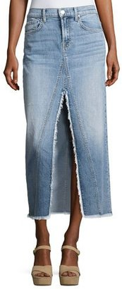 7 For All Mankind Long Denim Skirt with Front Slit, Indigo $219 thestylecure.com