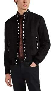 Saint Laurent Men's Studded Silk Chenille Bomber Jacket - Black