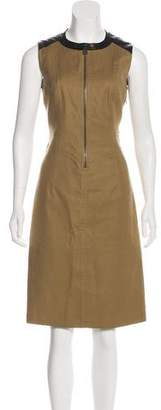 Belstaff Leather-Accented Knee-Length Dress