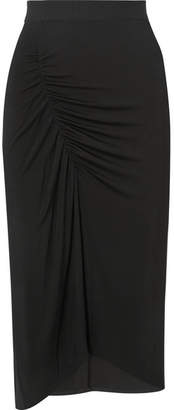 By Malene Birger Sunikka Ruched Stretch-knit Midi Skirt - Black