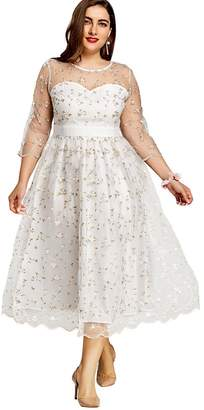 DEZZAL Women's Plus Size 3/4 Sleeve Sheer Floral Embroidered Tulle Prom Dress (, XL)