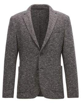 BOSS Hugo Slim-fit jacket in two-tone fabric 42R Open Grey