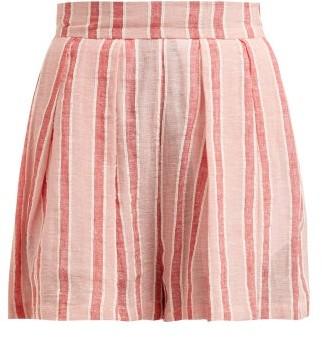 Three Graces London Kilman Striped Linen Blend Shorts - Womens - Pink Stripe