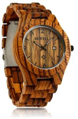 Bewell BEWELL Fashion Wood Watch Bamboo Wooden Analog Quartz Date Display Men's Wrist Watch