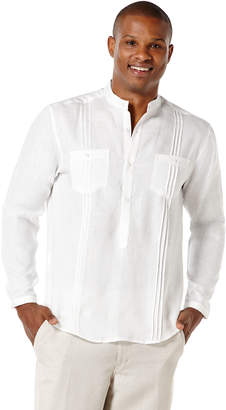 Cubavera Big & Tall 100% Linen Long Sleeve 2 Pocket Popover Shirt