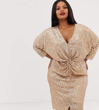 TFNC Plus Plus 3/4 sleeve waist knot midi dress in rose gold