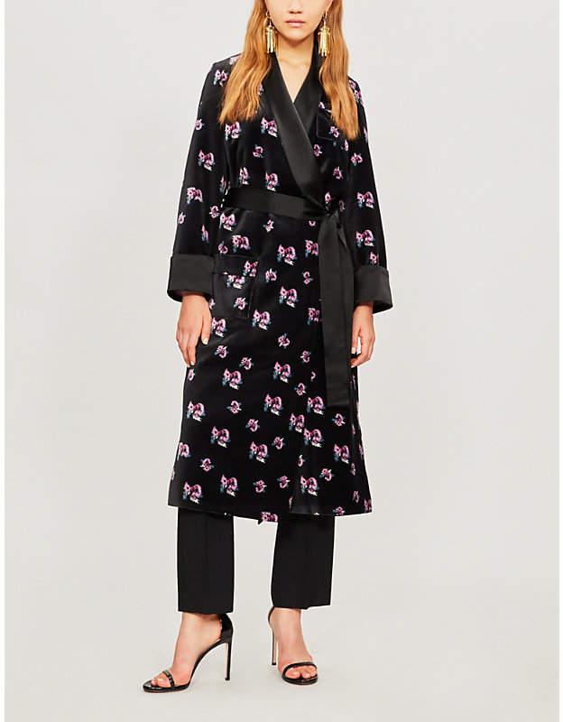 Racil Andromeda floral-print velvet coat