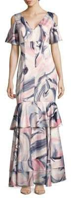 Kay Unger Swirl-Print Cold-Shoulder Tiered Gown