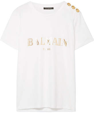 Balmain Button-embellished Printed Cotton-jersey T-shirt - White