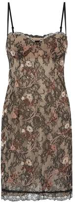 La Perla Daily Looks Black And Nude Leavers Lace Dress With Built-In Bra