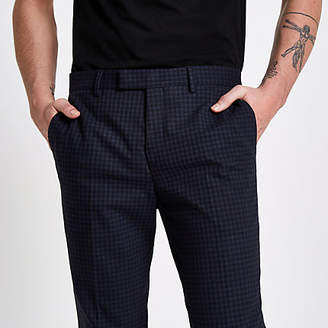 River Island Mens Blue check skinny fit suit trousers