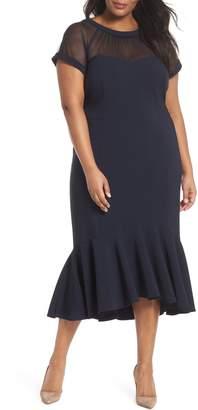 Maggy London Illusion Flare Hem Midi Dress