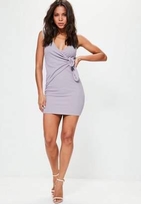 Missguided Purple Plunge Wrap Tie Detail Bodycon Dress
