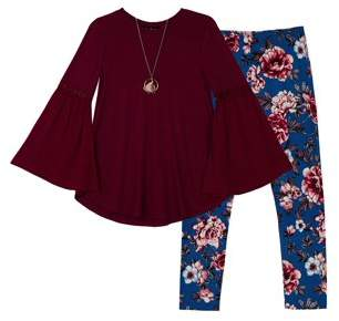 Amy Byer Bell Sleeve Blouse & Printed Legging, 2-Piece Outfit Set with Necklace (Big Girls)