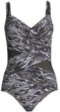 Miraclesuit Swim Swim Women's Feline Fixation Madero One-Piece Swimsuit - Black White - Size 12