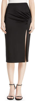 Cushnie High-Waist Fitted Jersey Pencil Dress w/ Front Slit