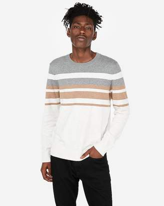 Express Chest Stripe Crew Neck Sweater