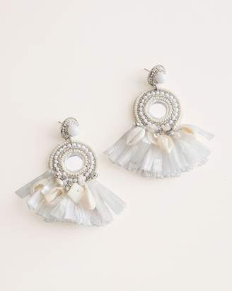 Chico's Chicos White Beaded Statement Chandelier Earrings