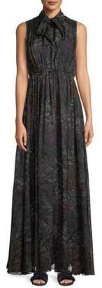 Co Tie-Neck Sleeveless Floral-Print Silk Chiffon Evening Gown
