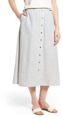 Eileen Fisher Stripe Hemp & Organic Cotton Midi Skirt