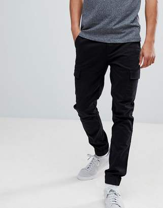 Asos Slim Woven Cargo Joggers In Black