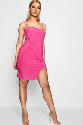 boohoo Plus Tie Front Strappy Bodycon Dress