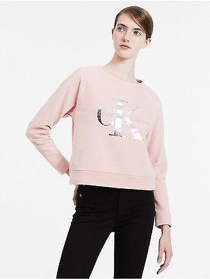 Calvin KleinCalvin Klein Womens Iridescent Logo Cropped Sweatshirt