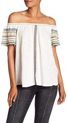 Lucky Brand Lucky Embroidered Off The Shoulder Cotton Top