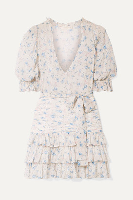 LoveShackFancy Hannah Ruffled Tiered Floral-print Silk-georgette Mini Dress - Off-white