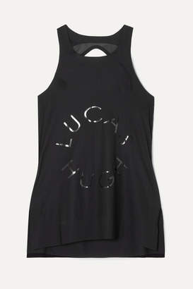 Lucas Hugh Open-back Mesh-paneled Printed Stretch Tank - Black