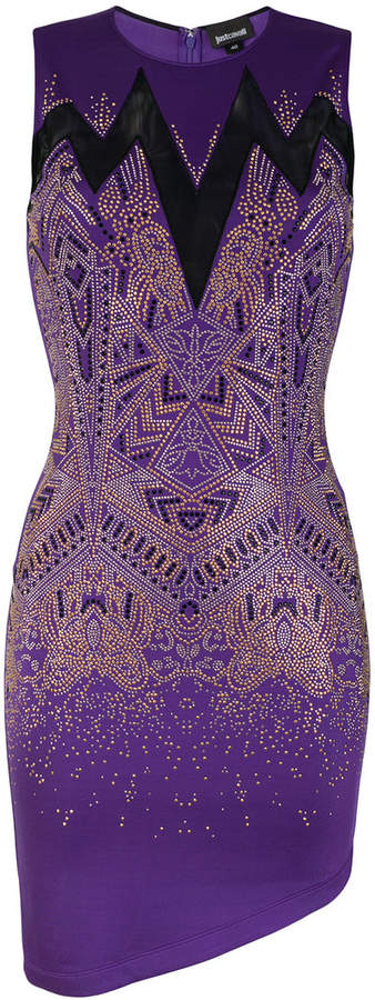 sheer panel studded mini dress