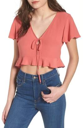 Leith Ruffle Tie Front Crop Top