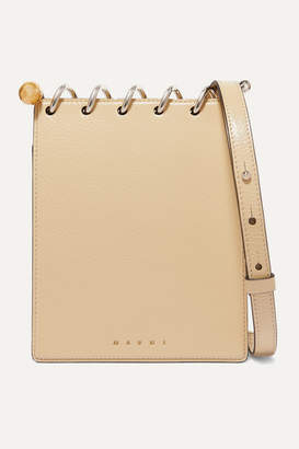 Marni Spring Small Embellished Textured Patent-leather Shoulder Bag - Cream