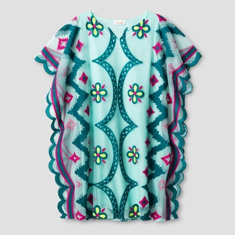 Cat & Jack Girls' Embroidered Tunic Dress Cat & Jack - Aqua