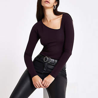 River Island Purple ponte asymmetric neckline top