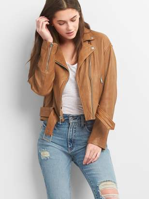 Gap Belted Moto Jacket in Leather
