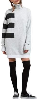Volcom Cold Stripe Turtleneck Sweater Dress