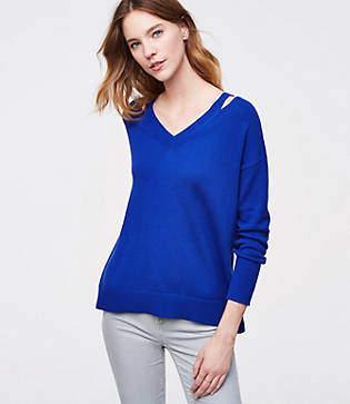 LOFT Cutout V-Neck Sweater