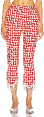 Area Crystal Trim Trouser in Red & Ecru   FWRD
