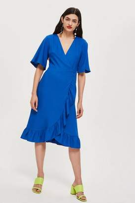 Topshop Crepe Ruffle Midi Wrap Dress