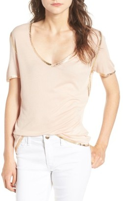 Women's Zadig & Voltaire Tino Foil Trim Tee $98 thestylecure.com