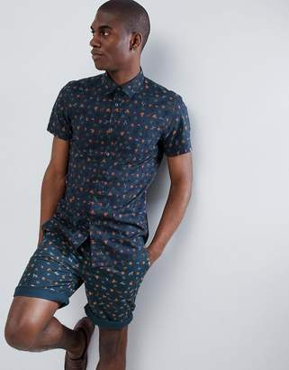 Benetton Short Sleeve Shirt With Palm Tree Print