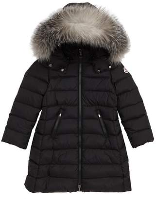 Moncler Abelle Down Coat with Genuine Blue Fox Fur Trim