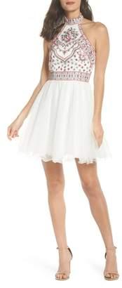 Blondie Nites Embroidered Fit & Flare Halter Dress