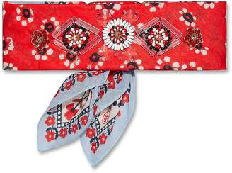 Tory Burch Floral Print Embellished Cotton Bandana Necktie